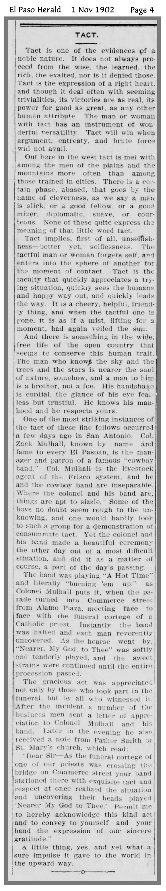 A kindness of Zack Mulhall's - El Paso Herald, 1 Nov 1902